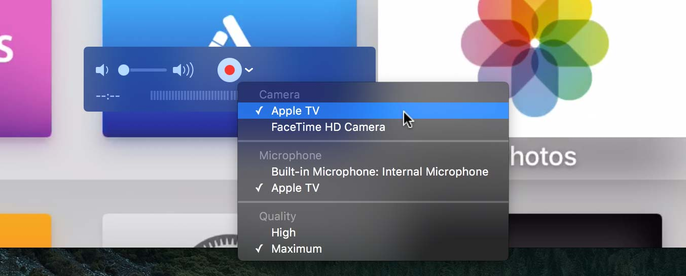 Video Capture Options in QuickTime Player