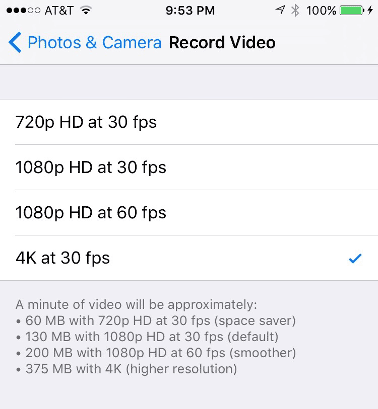 Enable 4K video shooting in iPhone 6s