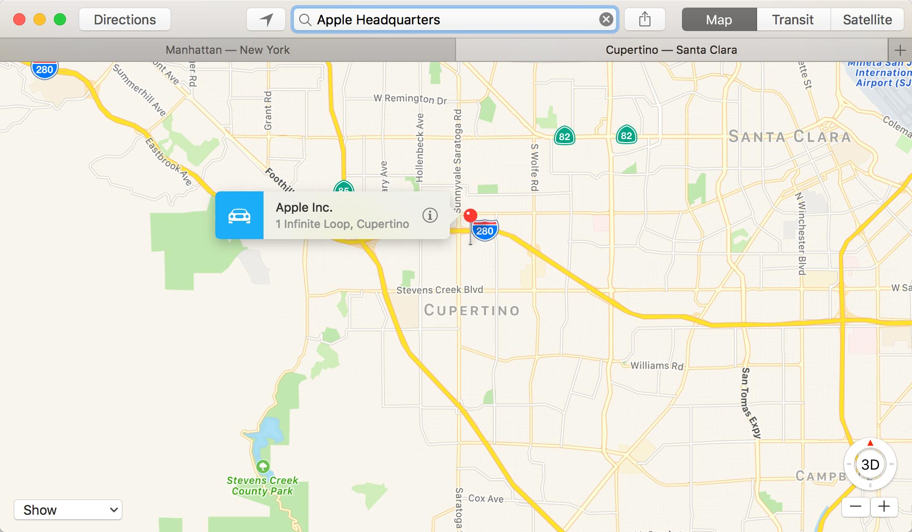 Tabs in Apple Maps