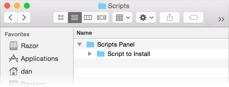 Dragging the script into the Scripts Panel folder