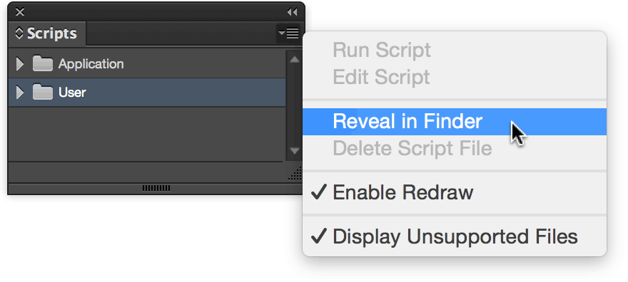 Scripts Panel, Reveal in Finder